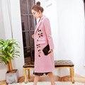 Новые прибыл 2017 зимняя мода взлетно-посадочной полосы женщин высокого качества вышитые шерстяное пальто шерстяная ткань пальто культивировать abrigos mujer