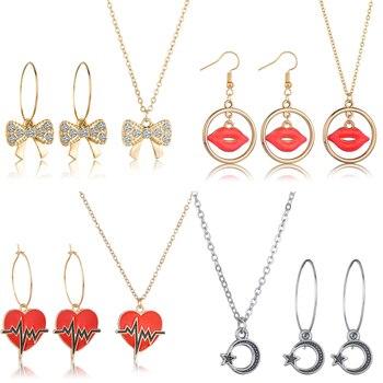 New 3PCS Women Trendy Earrings&Necklace Sets Bowknot Butterfly Rhinestone Female Jewelry