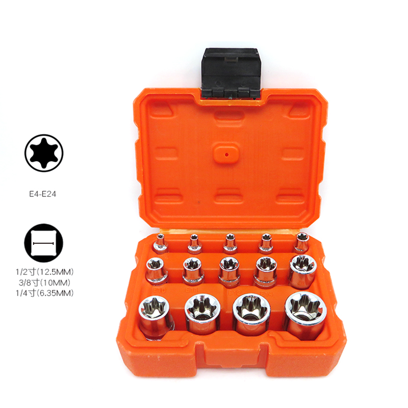 1/4 1/2 3/8 E-Socket Sockets Set CR-V Torx Star Bit Combination Drive Socket Nuts Set For Auto Car Repair Hand Tool E4-E24 1 4 1 2 3 8 e socket torx star bit sockets set cr v combination drive socket nuts set for auto car repair hand tools sets