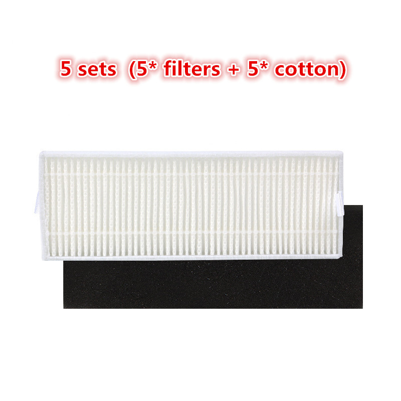 5set Vacuum Cleaner Parts Replacement 5* HEPA Filter +5* cotton For Ecovacs Dibea DT85 DT83 DM81 Vacuum Cleaner parts 5x ecovacs hepa filter and 5x fine filtration cotton replacement for d36a tek tcr s tcr s2 tcr660 m1