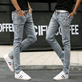 2016 men three teenagers jeans buckles light ash elastic skinny jeans