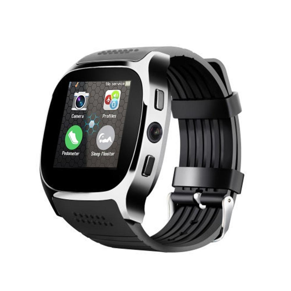 T8 1,5 zoll TFT LCD Touch Screen Bluetooth Smart Uhr Mit Kamera Facebook Whatsapp Unterstützung SIM TF Karte Anruf Armbanduhr