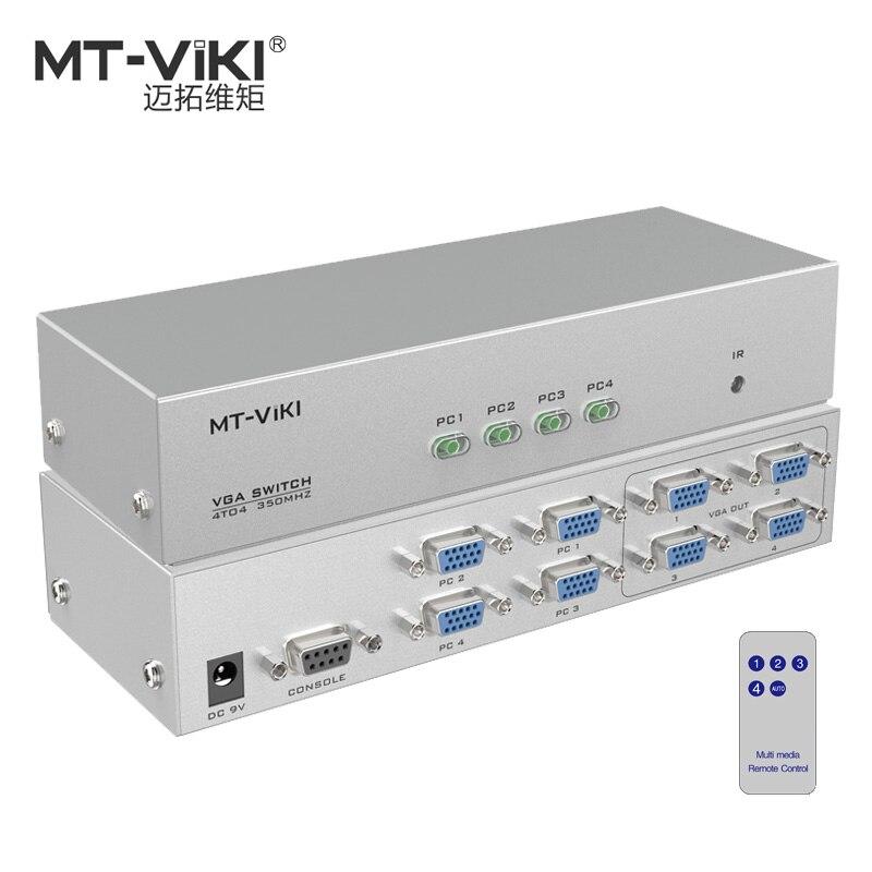 MT-VIKI 4 em 4 Switch De Vídeo VGA Splitter PC Imagem Seletor Distribuidor Remoto IR Controle Serial RS232 4X4 MT-404CB