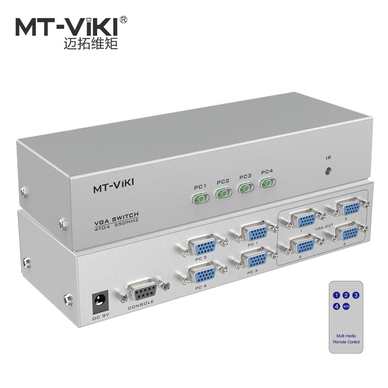 MT-VIKI 4 in 4 out VGA Video Switch Splitter PC Selector Image Distributor IR Remote RS232 Serial Control 4X4 MT-404CB mt viki dv4h 4 port dvi splitter distributor video sharing 1 input to 4 output multiple lcd monitor synch display mt dv4h