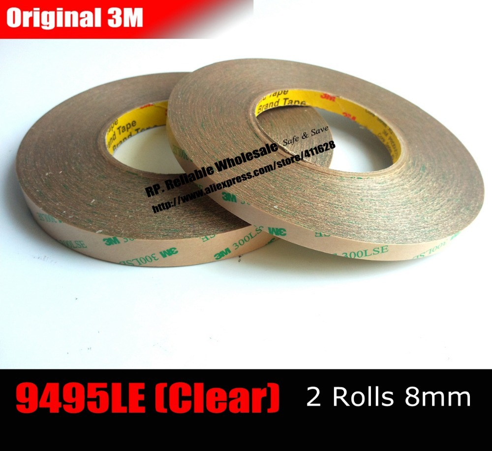 2Pcs 8mm*55M*0.17mm Strong Sticky Two Sides Adhesive Tape for LCD Screen Lace Fake Nail Wig Hair Extension 300LSE