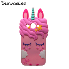 For Huawei Y3 2017 Case 3D Unicorn Silicon Cartoon Soft Phone Back Cover Skin Shell for MT6737M CRO-L02 CRO-L22 5.0