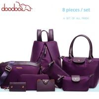 New Womens 8 Piece Set Handbag Nylon Female Bags Fashion Solid Color Shoulder Bag High Quality