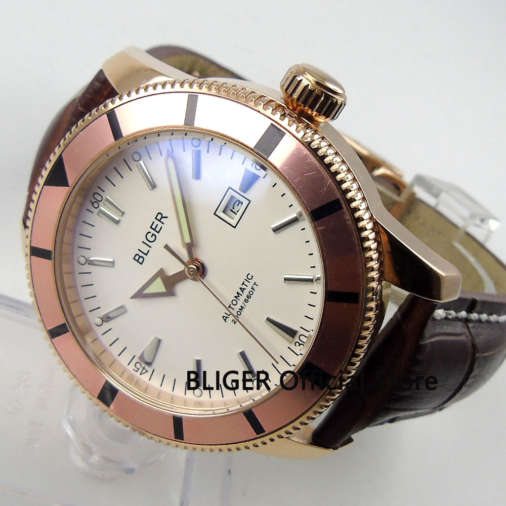 Fashion BLIGER 46MM White Dial Rose Golden Case Rotating Bezel Luminous Hand MIYOTA Automatic Movement Men's Wrist Watch B97 цена и фото