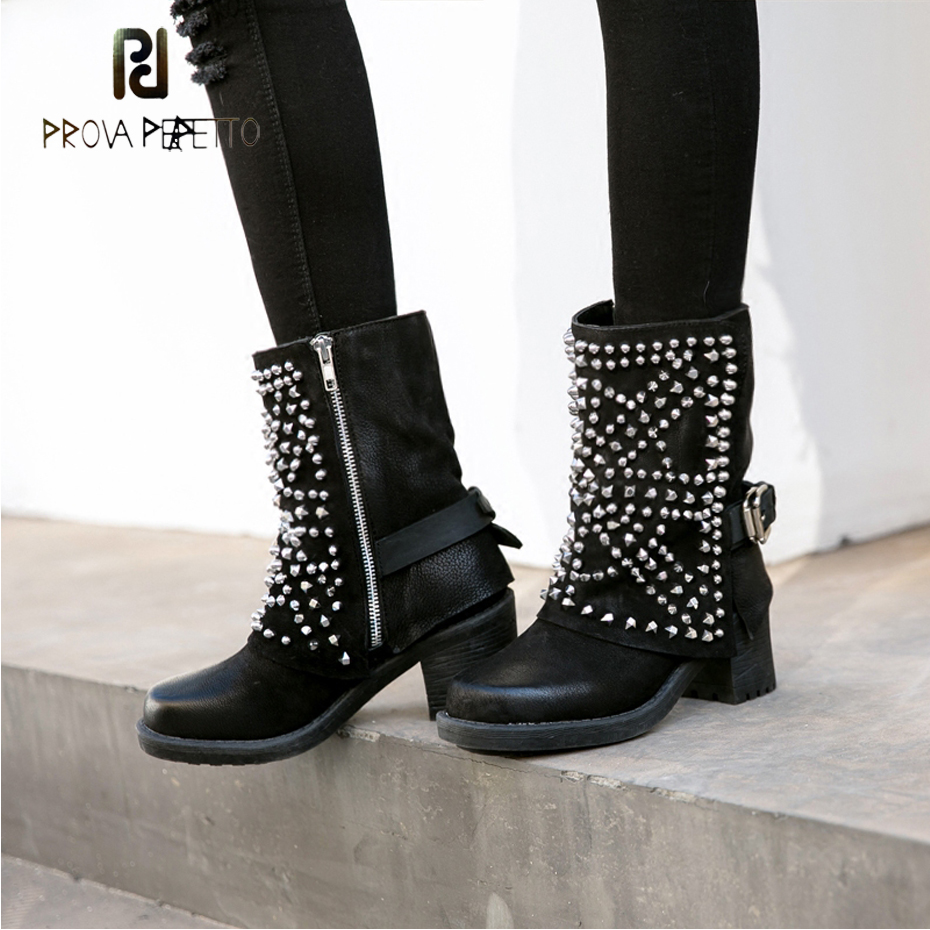 Prova Perfetto Square Heel Winter Short Boots Women Fashion Rivet Chealsea Shoes Belt Buckle Genuine Leather Do Old Women Boots prova perfetto fashion round toe low heel mid calf boots feminino buckle belt thick bottom genuine leather women s martin boots