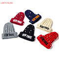 YORK letter embroidery knitting wool hat Korean lovely personality tide female autumn and winter couple warm tip