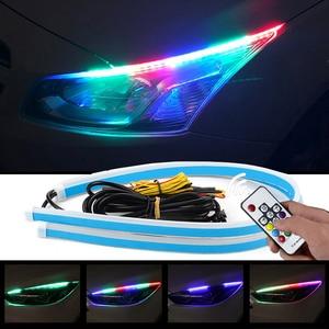Niscarda 2pcs Universal Waterproof Flexible RGB Daytime Running Light DRL Multi Color LED Strip Turn Signal Lights(China)