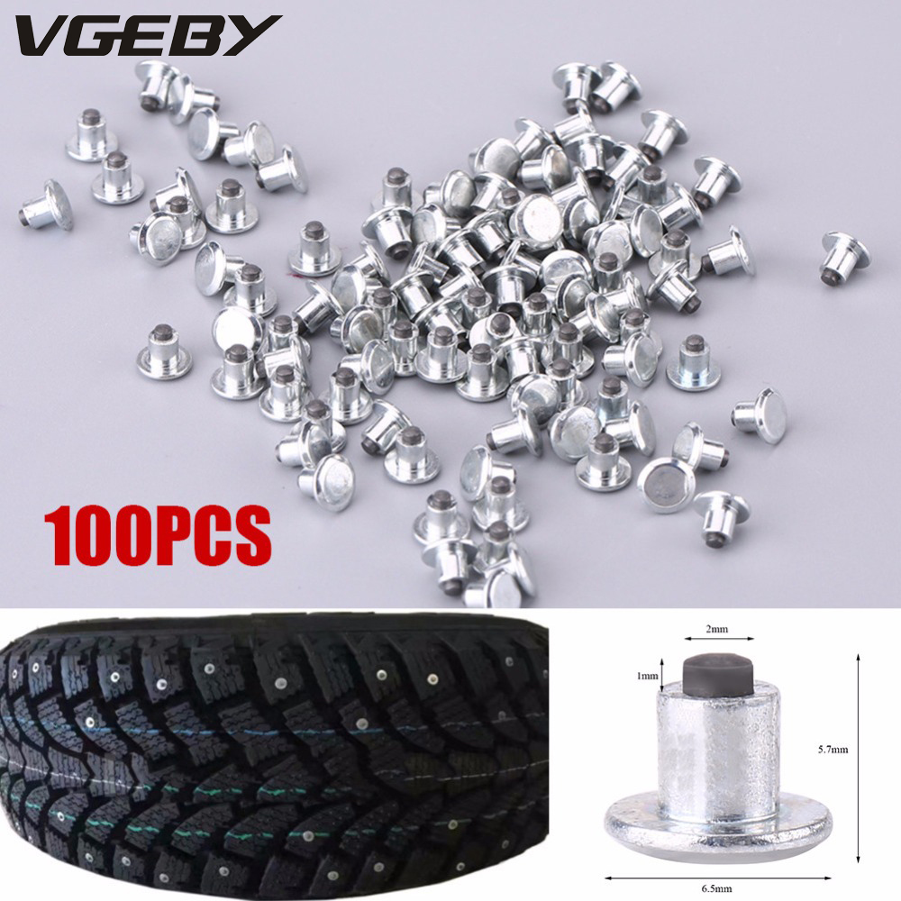 100pcs 6.5mm/0.26 Wheel Tyre Stud Screws Snow Tire Spikes for Bike Car Motorcycle ATV Shoes