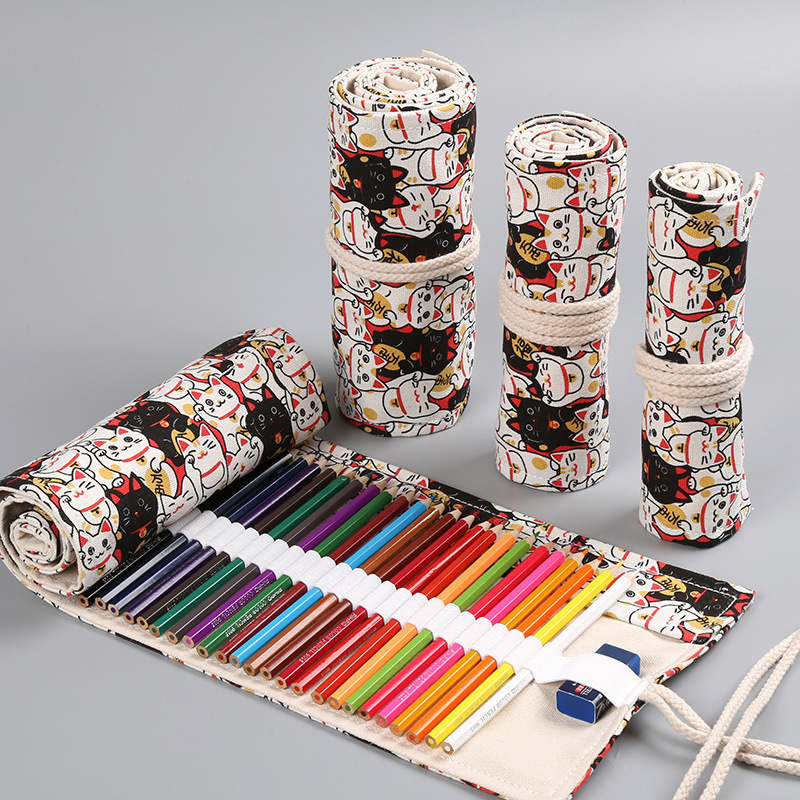 Kawaii Cute Cat Roll Pencil Case 36/48/72 Holes School Penal Pencilcase for Boys Girls Large Pen Bag Stationery Pouch SuppliesKawaii Cute Cat Roll Pencil Case 36/48/72 Holes School Penal Pencilcase for Boys Girls Large Pen Bag Stationery Pouch Supplies