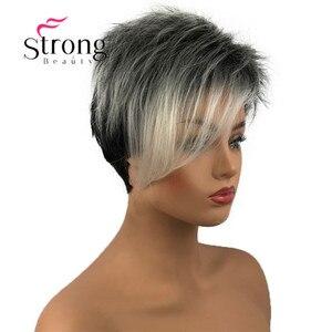 Image 4 - StrongBeauty peluca corta de pelo sintético para niña, con raíces oscuras, degradado