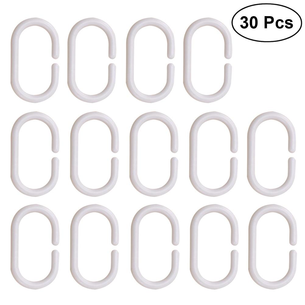 30pcs Curtain Rings Plastic C-shaped Oval Curtain Hooks Drape Loop Clip for Home Window Hotel Bathroom