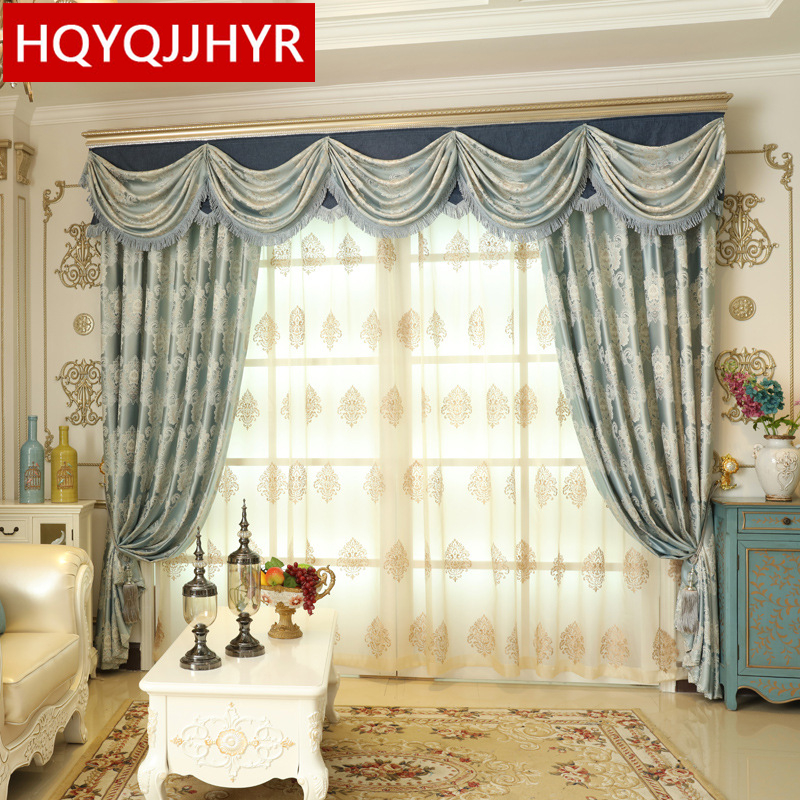 Hot european style luxury blue printed blackout curtains - European style curtains for living room ...