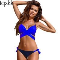 TQSKK New 2017 Cross Halte Bikinis Women Swimsuit Female Swimwear Brazilian Bikini Set Vintage Summer Bathing