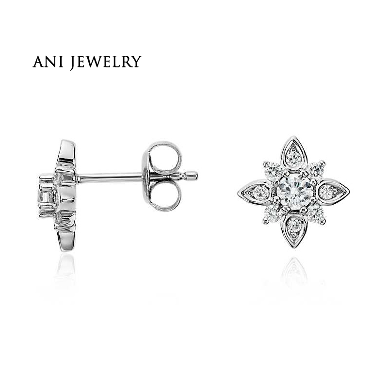 ANI 14K White Gold Women Wedding Diamond Earrings 1.06 CT Certified I/SI Round Cut Natural Stud Earrings for Women Engagement starry pattern gold plated alloy rhinestone stud earrings for women pink pair