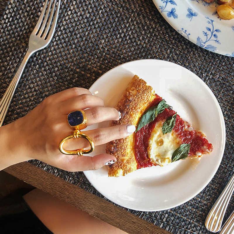 Peri'sBox Gold สีโลหะ Lapis Lazuli แหวนเรขาคณิตแหวนซ้อนกันได้แหวนของขวัญของเธอ