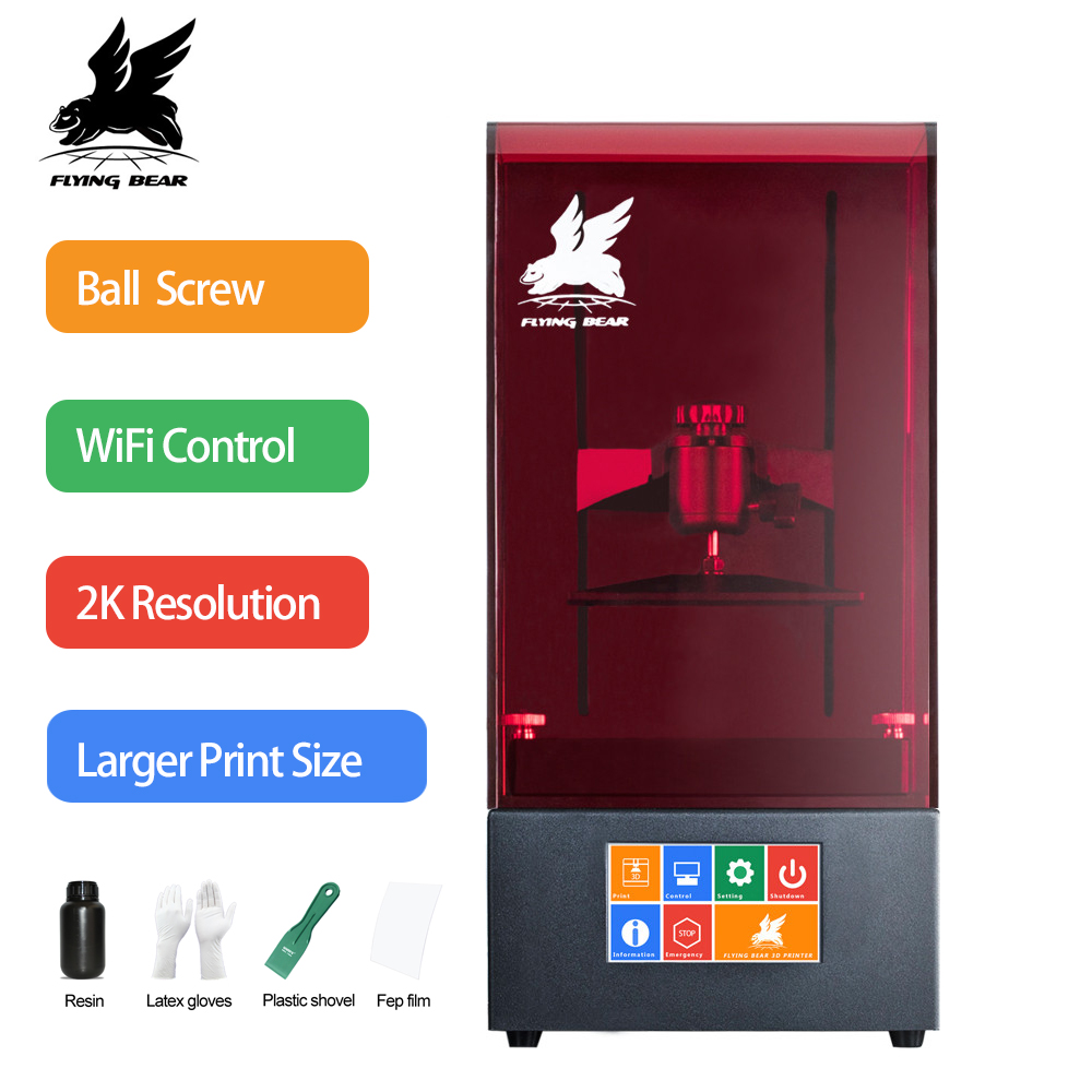 2018 I Più Nuovi Flyingbear Lustro UV Resina DLP 3D Stampante A Colori Dello Schermo di Tocco 2560*1440 LCD Ad Alta Precisione SLA WiFi più il Formato