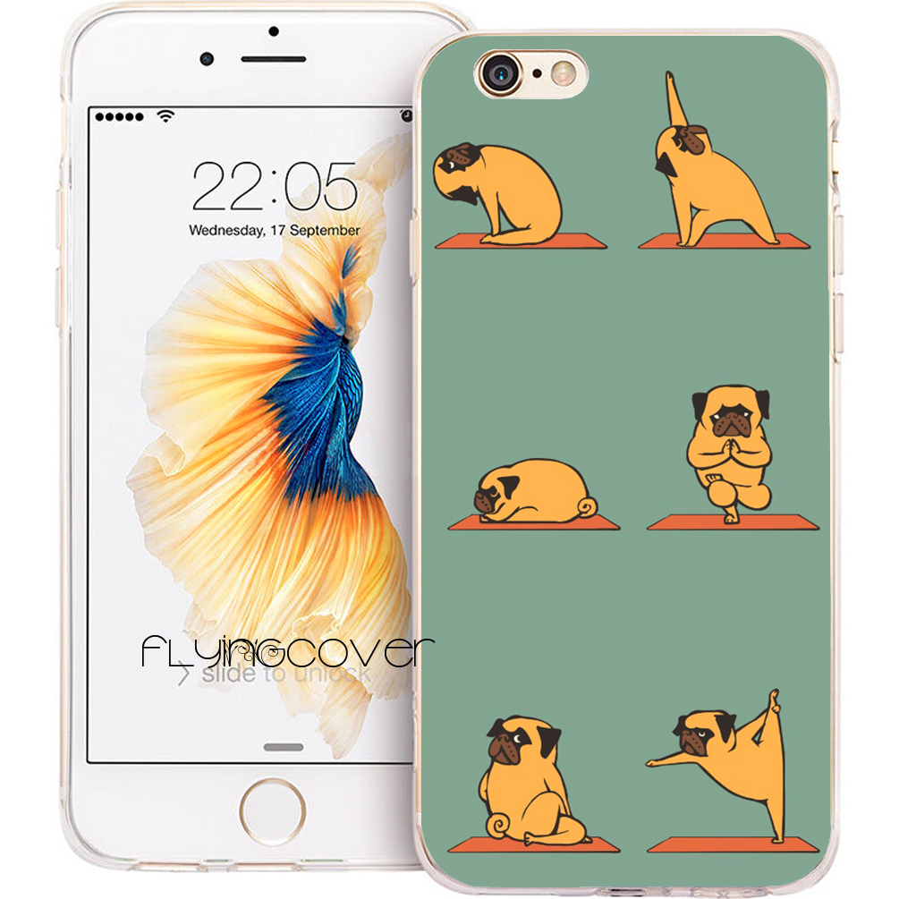 Coque Funny Pug Yoga Dog Capa Soft TPU Silicone Phone Cover for iPhone X 7 8 Plus 5S 5 SE 6 6S Plus 5C 4S 4 iPod Touch 6 5 Case
