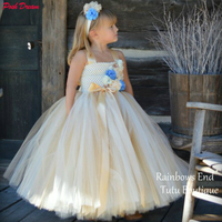 POSH DREAM Vintage Charm Gold & Ivory Kids Girls Flower Couture Blue Flower Girl Wedding Tutu Dress Children Birthday Ball Gown