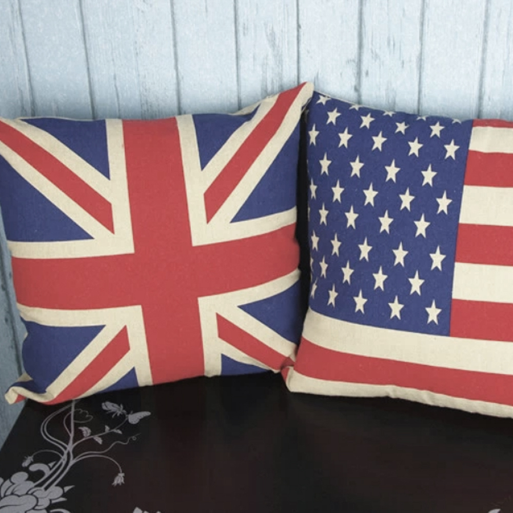 UK US Flag Linen Home Decor Throw Pillow Cases Square Pillowcases Car Back Sofa Cushion Cover Wedding Decoration In From Garden On