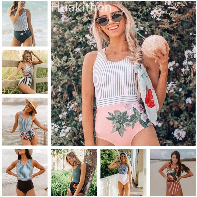 Printed Swimwear Stroj Kapielowy One-Pieces Padded Tankini Retro High-Waist Women Mayo