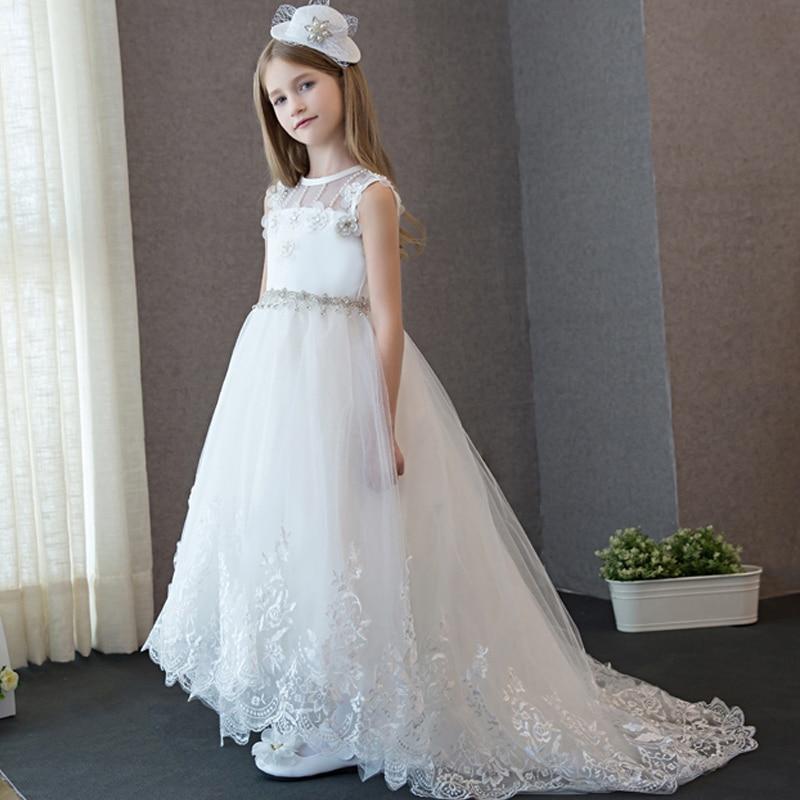 ФОТО Elegant Long Wedding Flower Girl Dress Summer 2017 Girls Dress Lace Embroidery Sweet Princess Prom Party Kids Dress For Girl P42