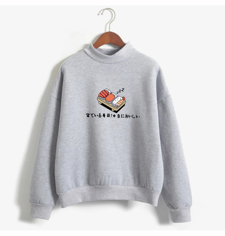 Women Hoodies 19 Autumn Winter Sweatshirts Cartoon Kawaii Sushi Japanese Print Fleece Loose Moletom Feminino Harajuku Pullover 6