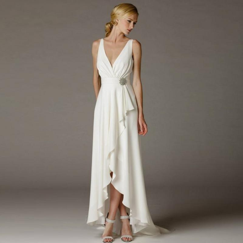 greek wedding dress beach simple deep v neck empire with sash belt high low bridal