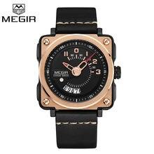 2017 Megir Relojes Para Hombre Marca de Lujo del Hombre Fashion Square Auto Fecha Reloj Deportivo Reloj de Oro reloj de los hombres Reloj de pulsera de Cuarzo Relojes Hombre
