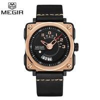 2017 Megir Mens Watches Man Luxury Brand Fashion Square Auto Date Sports Watch Gold Clock Men