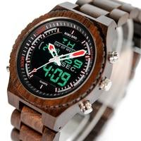 Manufacture BOBO BIRD L P02 Classic Men Wooden Watches Quaint Luxury Alarm Clock Men Ebony Wood Band Dual Display Watch