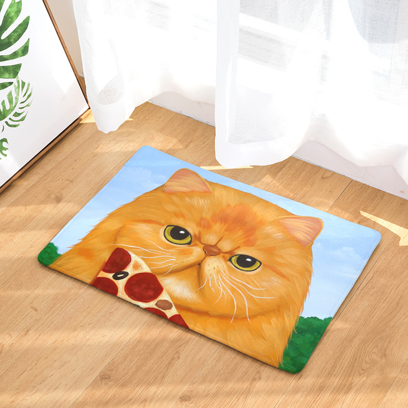 Zeegle Creative Cat Printed Kitchen Mats For Floor Non-slip Bathroom Rug Bath Mats Home Decor Door Mat Children Bedroom Carpet