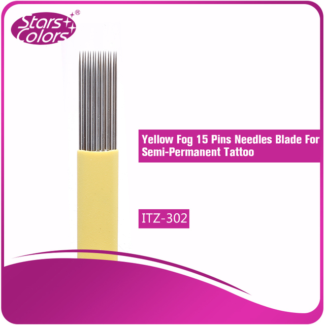 100 pcs disposable eyebrow tattoo Blade Needles medical grade stainles steel Yellow Series 0.20 mm thickness 15 Pins