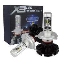 Castaleca 1 Pair X3 Car LED Headlights Extremely Bright H4 H7 H11 9005 9006 9007 H13