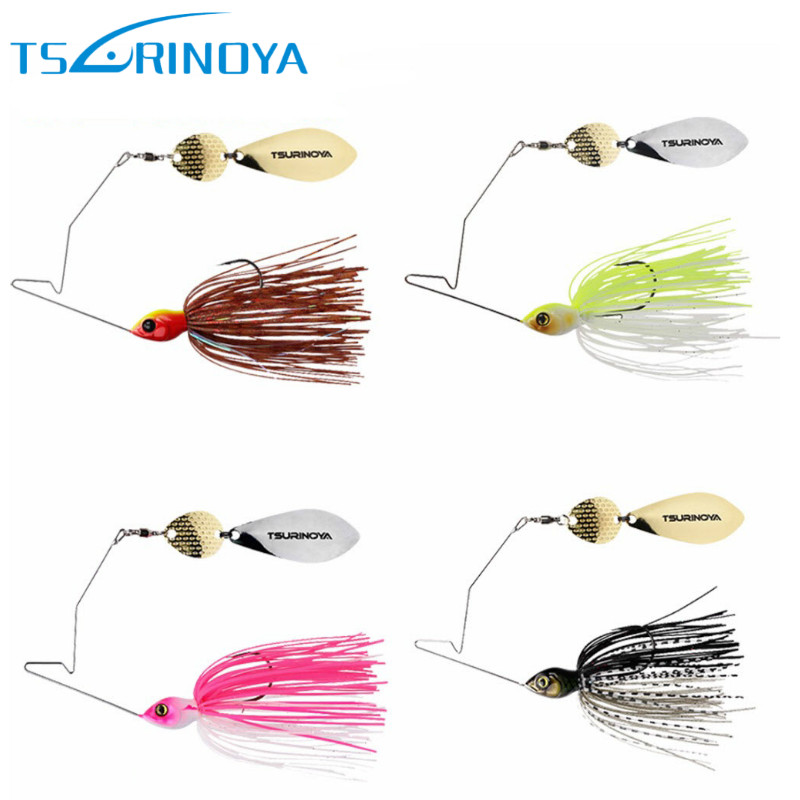 все цены на TSURINOYA 4Pcs/Lot Spinner Bait Head Weight 11g Rubber Jig Heag Fishing Lure Spinnerbait Metal Spoon Buzzbait with Barbed Hook онлайн