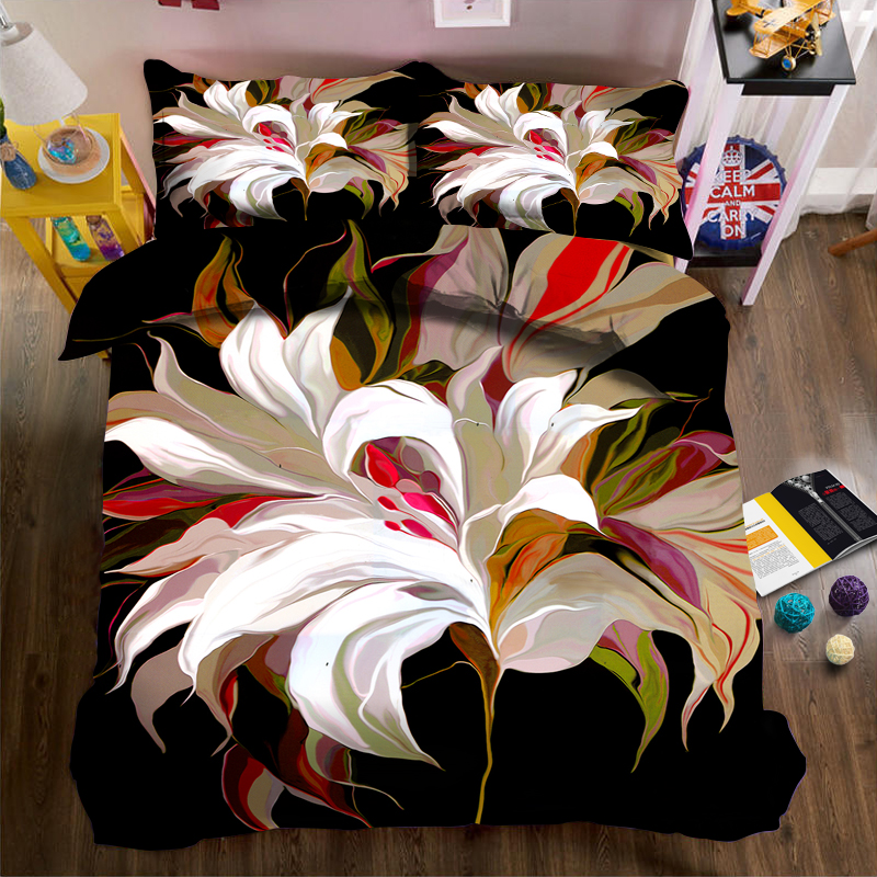 An artistic flower on a black background 3d effect photo bed linen can be customized photo patternAn artistic flower on a black background 3d effect photo bed linen can be customized photo pattern