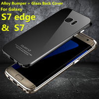Luphie Aluminum Case For Samsung Galaxy S7 Edge G9350 Case Luxury Glass Back Cover For Samsung