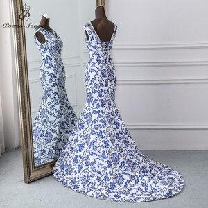 Image 3 - Poesie Canzoni 2019 China abito da sera blu del fiore elegante vestito da partito della sirena vestito da sera abito robe longue soiree