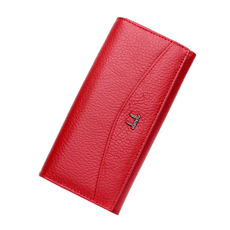 New Brand 100% Genuine Leather Wallet For Women High Quality Coin Purse Female 2017 High Quality Long Clutch Phone Red Wallets high quality genuine leather women wallet long hasp wallets luxury brand plaid coin purse female clutch ladies leather wallets