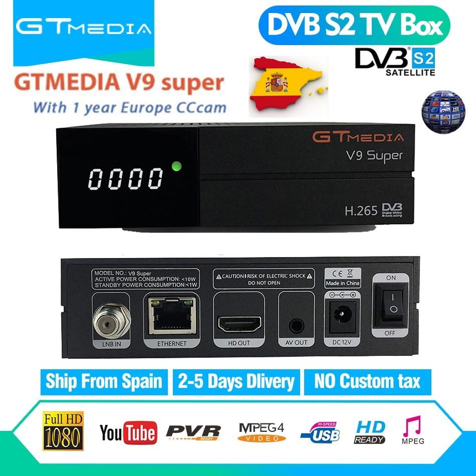 GTMedia V9 Супер Спутниковый ресивер DVB S2 Full HD 1080p H.265 bult-в WiFi с 1 год Бесплатная 7 линии Испания Европа Cccam рецепторов