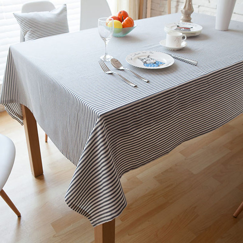 Korean Style Table Cloth Simple Striped Table Cover Blue,Gray,Red  Cotton/Linen