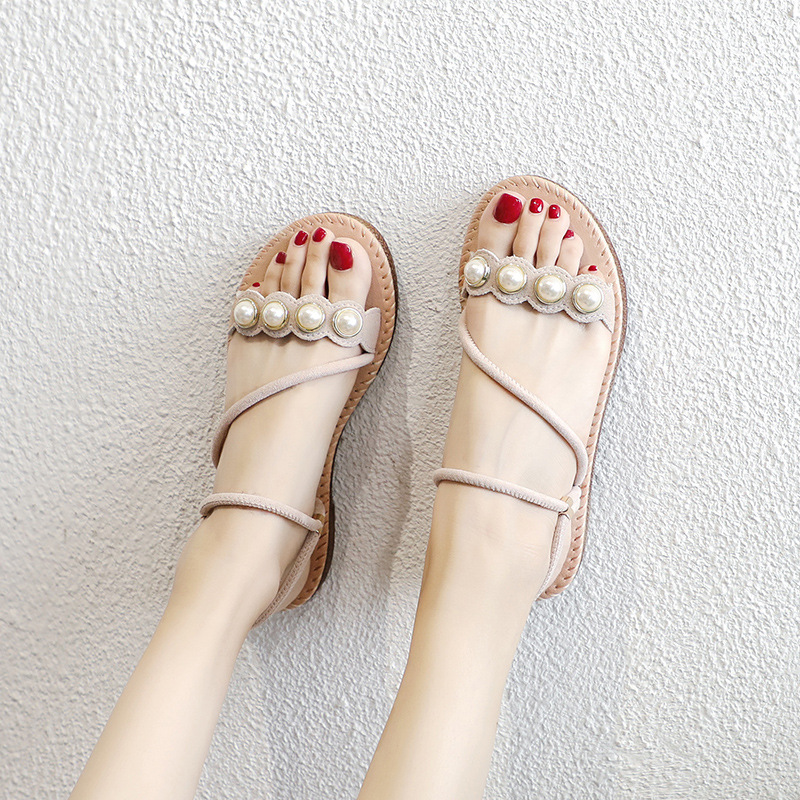 2019 summer new style simple and simple solid color sandals women comfortable wild pearl decorative casual sandals2019 summer new style simple and simple solid color sandals women comfortable wild pearl decorative casual sandals