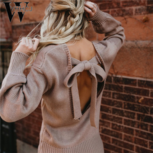 Women Backless Sexy Sweater Autumn Winter Solid Knitted Pullovers Bowknot Long Sleeve Casual Sweaters