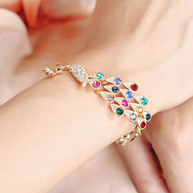 LNRRABC DIY Bohemian Colorful Peacock Charm Bracelets Femme for Women Valentine's Day Gift  Jewelry wholesale Free Shippi ly
