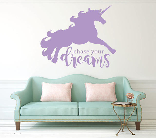 unicorn wall decal for baby room large dream big vinyl wall stickers