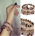 Hot multilayer crystal wrap elastic gold  bracelet  femme wholesale/pulseras mujer/pulseira feminina/brazalete/bilezik/bracciale