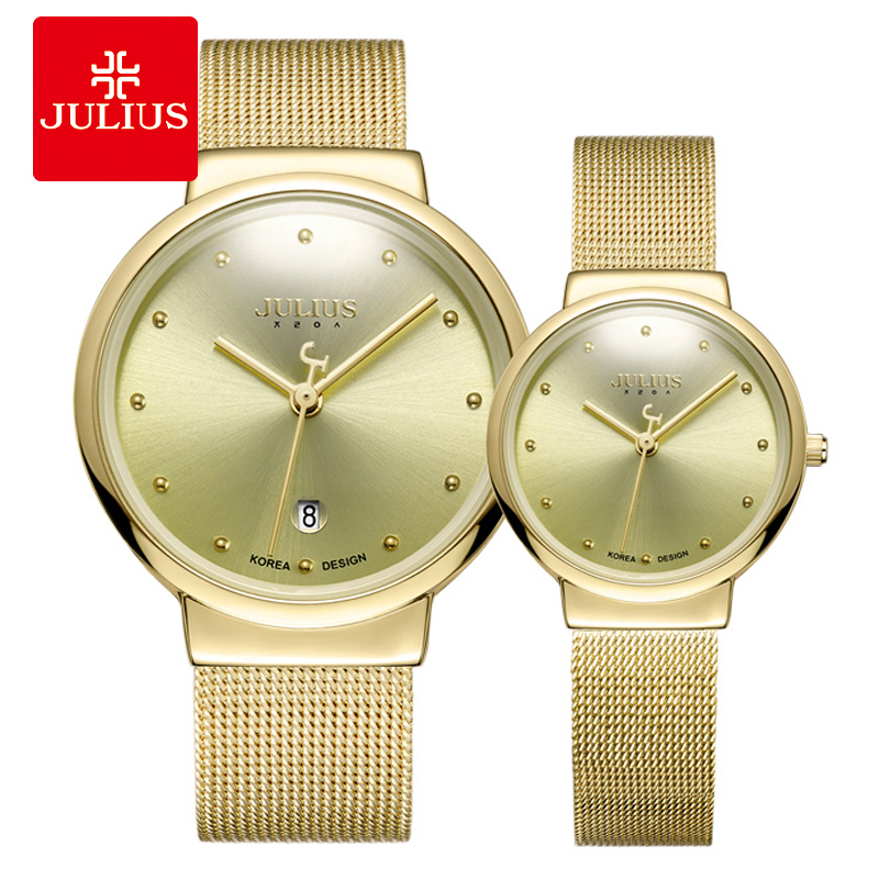 JULIUS JA-426 Couple Lover Gold Silver Black Mesh Stainless Steel Quartz Analog Waterproof Casual Watch Fashion Wristwatch Gift